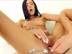 Tiny4K Perky breasted Marley Brinx gets pussy stretched out by big cock
