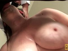 Throatfucked UK slut doggystyled by maledom