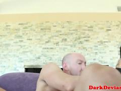 Busty asian sub throated before riding cock