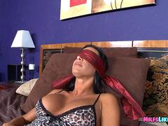 Blindfolded cougar Sucks long cock