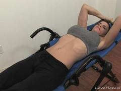 Hot workout by an amazing shaved chick