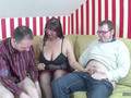 German slut finds herself in the middle of two horny guys ready to bang her