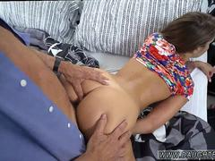 Horny dad seduce and bang from behind his stepdaughter on the bed