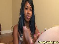 Black amateur babe giving silent handjob pov