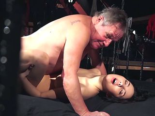 a kinky brunette gets banged by an older dude