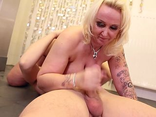a horny granny loves gobbling that pecker and then she receives it between her legs