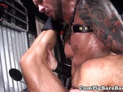 Dangerous stud barebacking leather hunk