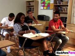 Black slut riding teacher long schlong on desk