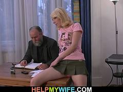 Old dad forces her suck his dick