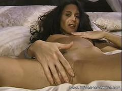 Happy Horny Brunette Housewife Masturbates Home Alone