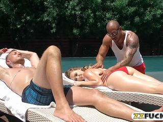 kagney linn karter dp by two big cocks by the poolside