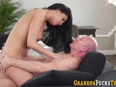 Young beauty desires to swallow that huge cock and then get it between her legs in diff poses by that older fellow