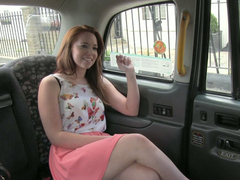 Sexy Candi sucks and fucks in the taxi
