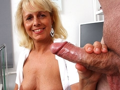 Euro milf Koko wears uniform for cfnm wankjob