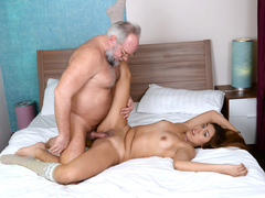 Hot young babe loves old cock