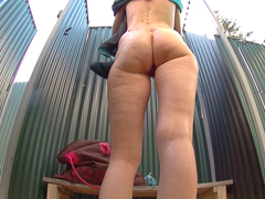 Czech blonde with hot tits filmed taking an outdoor shower