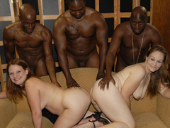 Two horny matures gets fucked by BBCs