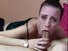 Sylvia Sucker does a pretty sloppy deepthroat blowjob