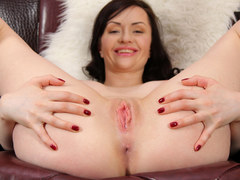 Horny busty brunette is masturbating on a casting audition